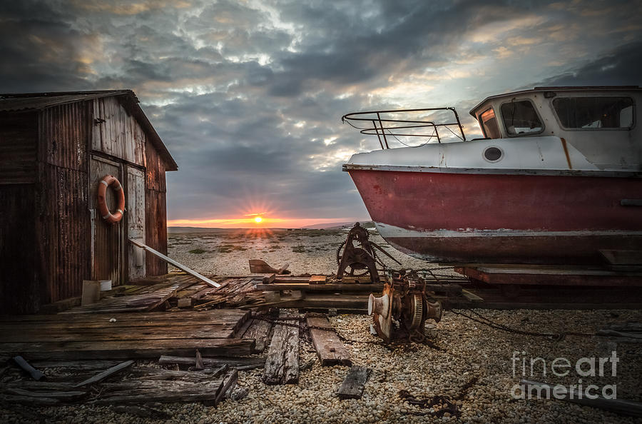 Sunset Photograph - Old Boat At Sunset by Ivor Toms