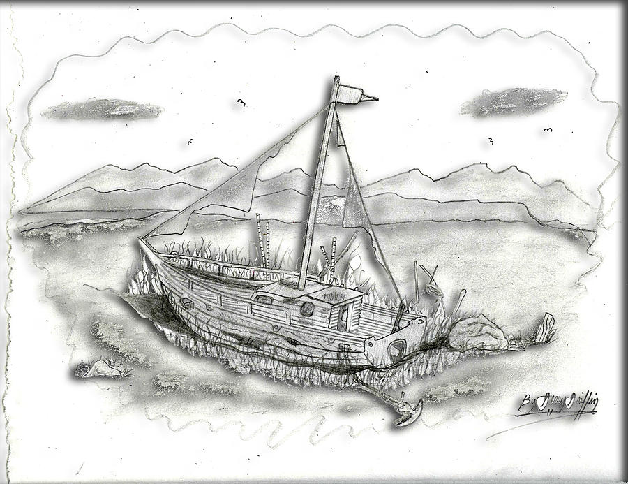 Rustic Boat Drawing - Old Boat Left In Time by Gerald Griffin