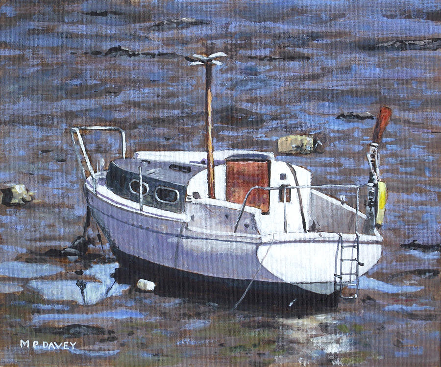 Boat Painting - Old Boat On River Mudflats 1 by Martin Davey
