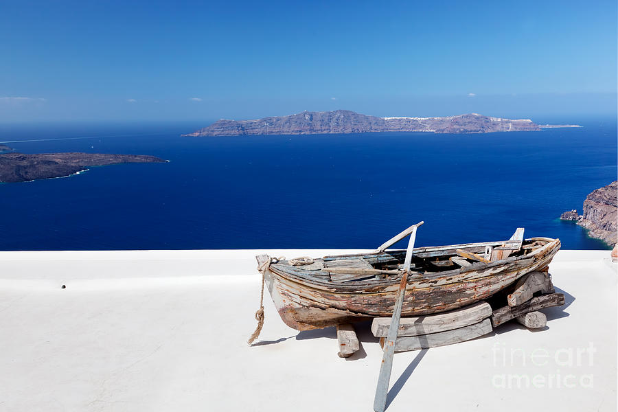 Santorini Photograph - Old Boat On The Roof Of The Building On Santorini Greece by Michal Bednarek