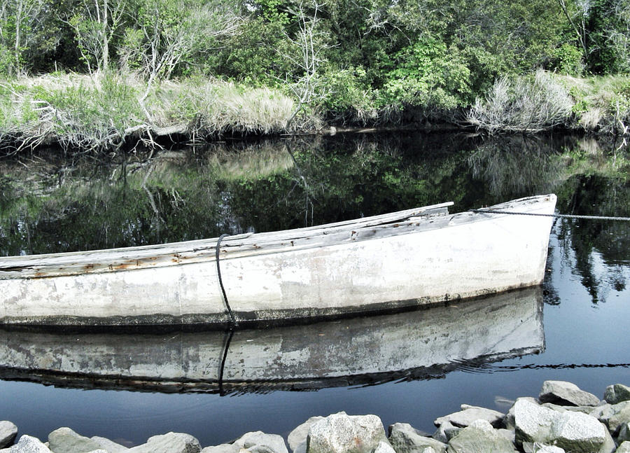Old White Boat Photograph