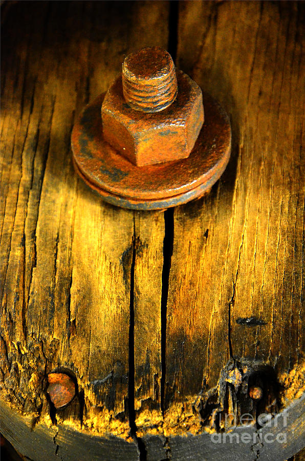Abstract Photograph - Old Bolt by Newel Hunter