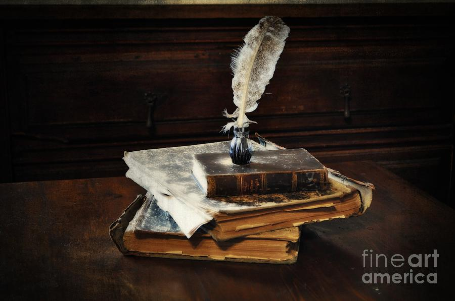 Wooden Chest Photograph - Old Books And A Quill by Mary Machare