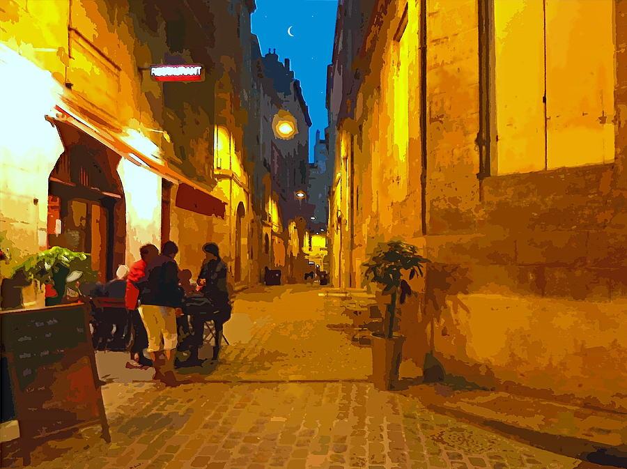 Bordeaux Digital Art - Old Bordeaux By Night by Bishopston Fine Art