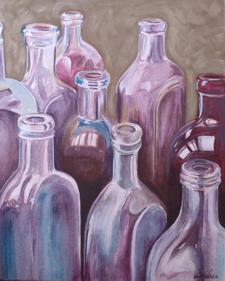 Still Life Painting - Old Bottles by Kathy Weidner