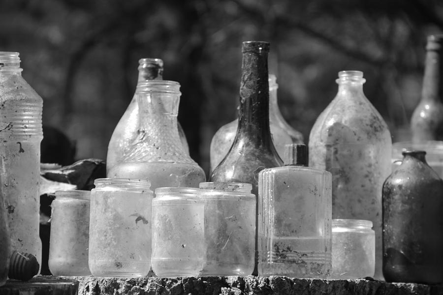 B&w Photograph - Old Bottles Two by Sarah Klessig