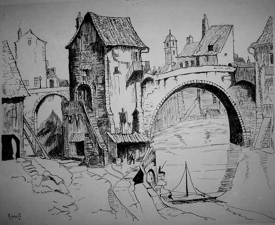 Bridge Painting - Old Bridge by Maxwell Mandell