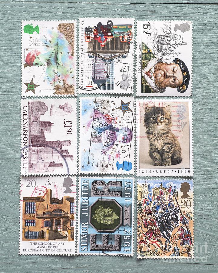 Stamp Photograph - Old British Postage Stamps by Jan Bickerton