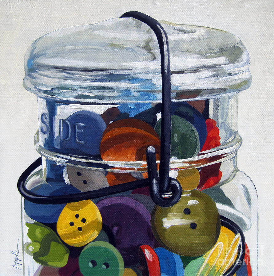 Antique Buttons Painting - Old Button Jar by Linda Apple
