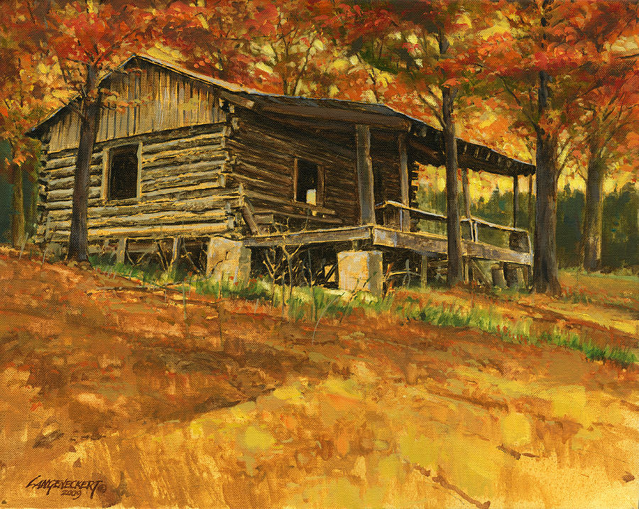 Old cabin in autumn painting by don langeneckert