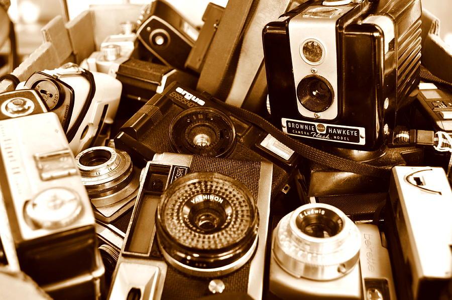 Vintage Camera Photograph - Old Cameras by Marina Slusar