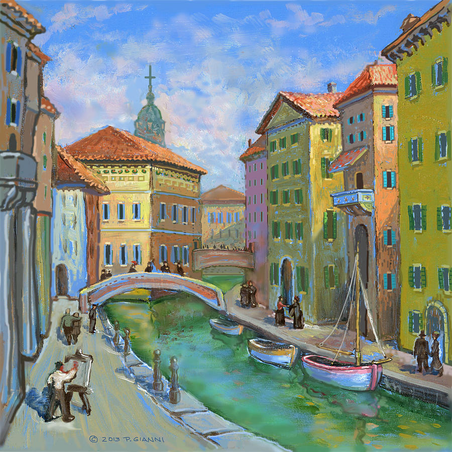Old Canal Painting by Philip Gianni