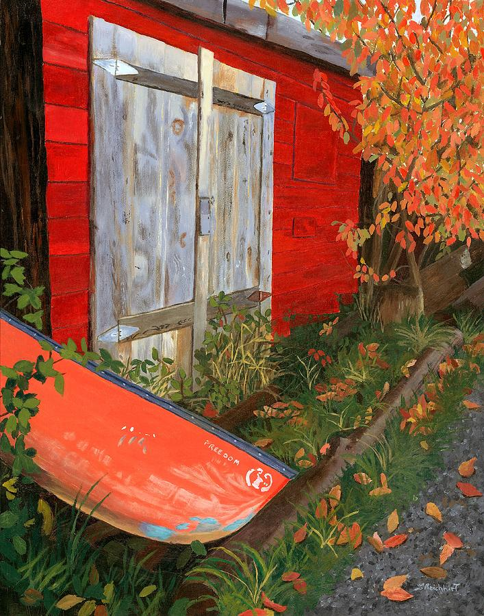 Canoe Painting - Old Canoe by Lynne Reichhart