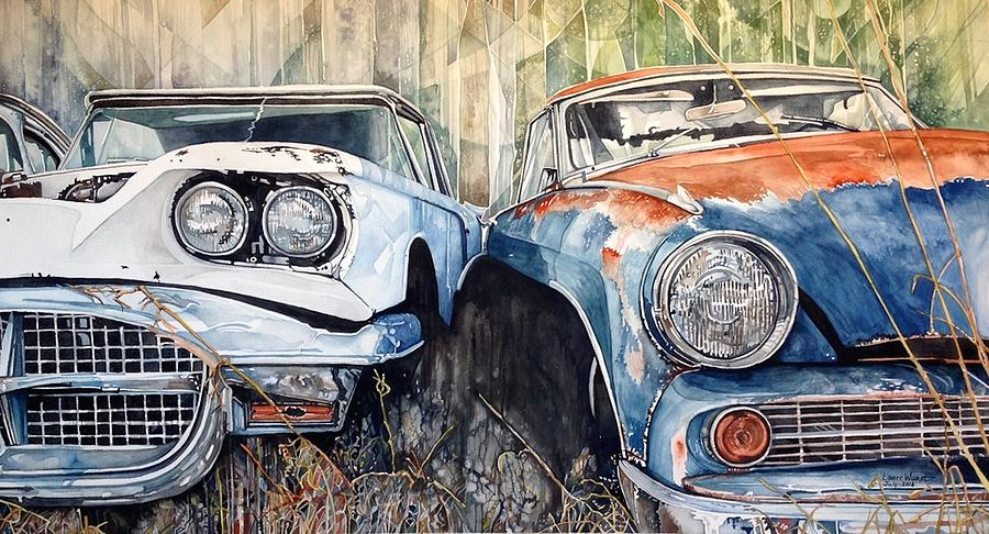 Old Cars Painting by Lance Wurst