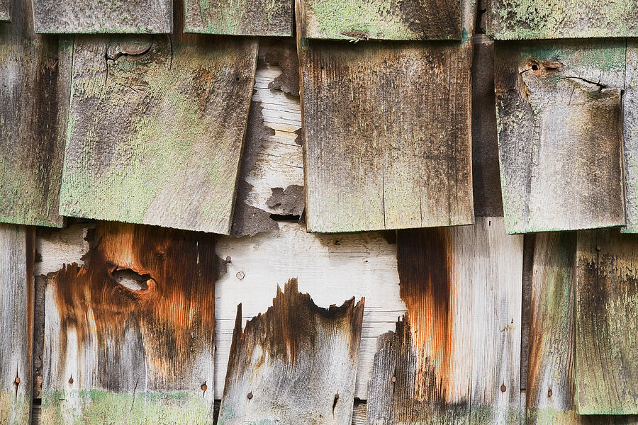 Abstract Photography Photograph - Old Cedar Shingles 1735 by Bob Hills