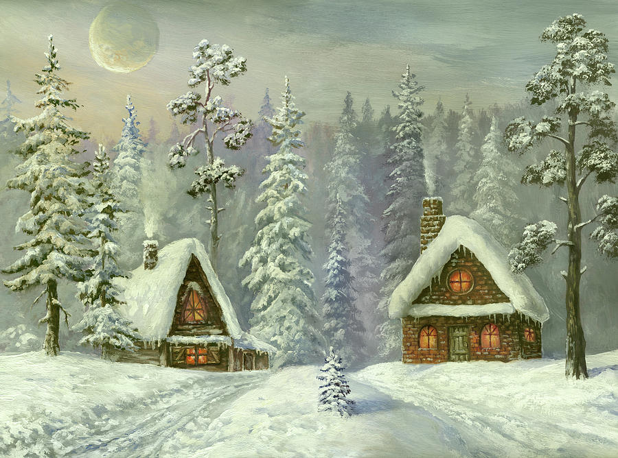 Old Christmas Card Digital Art by Pobytov