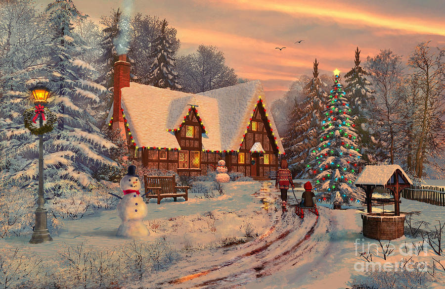 Christmas Digital Art - Old Christmas Cottage by MGL Meiklejohn Graphics Licensing