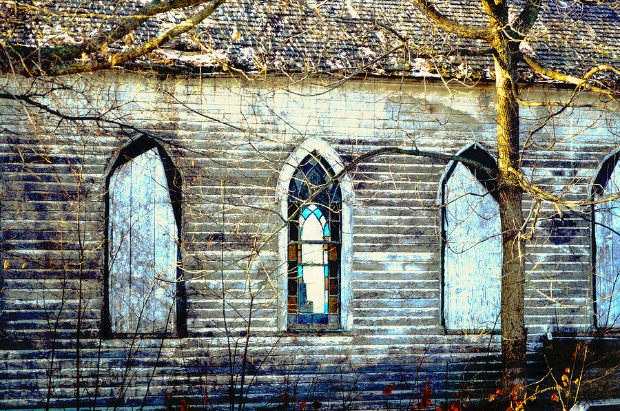 Old Church with Stained Glass by Rural America Scenics