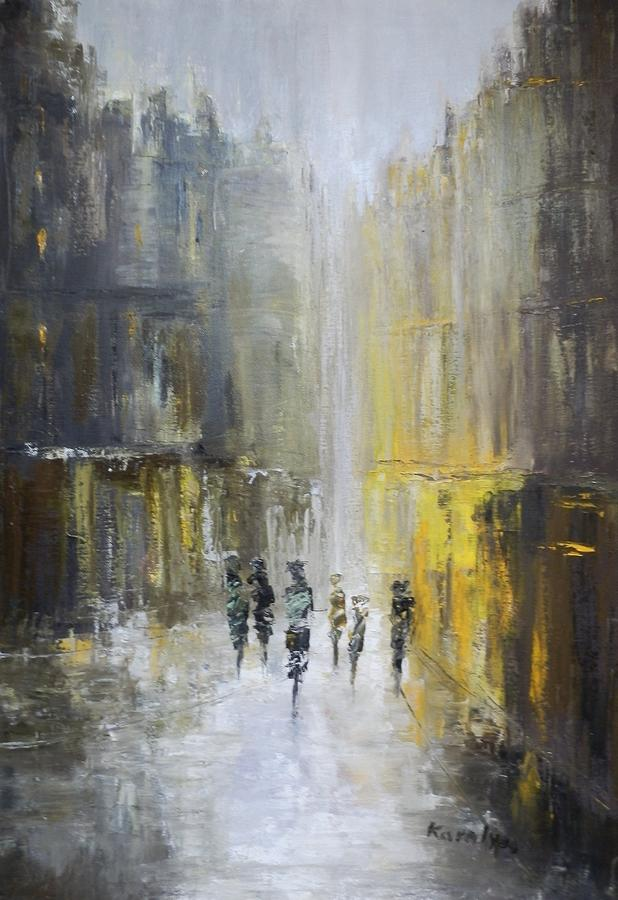 City Painting - Old City by Maria Karalyos