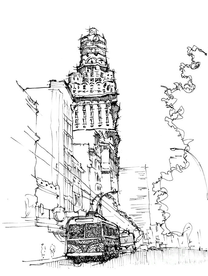 City Drawing - Old City Montevideo by Drawspots Illustrations