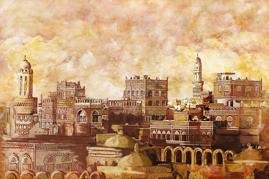 Sana'a Painting - Old City Of Sanaa by Corporate Art Task Force