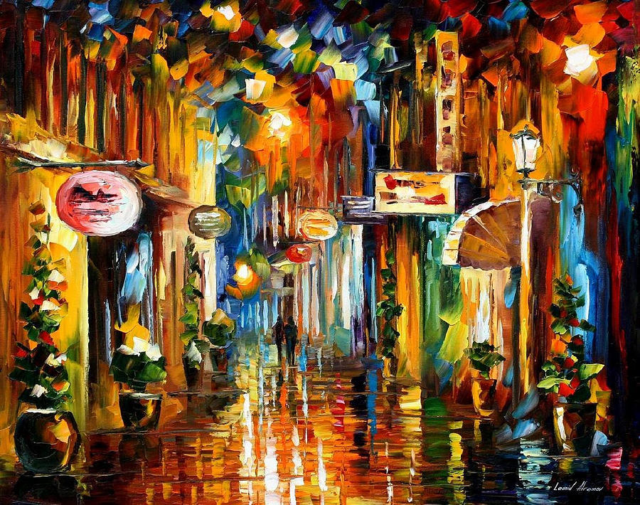 Old city street palette knife oil painting on canvas by for Buy cheap canvas art