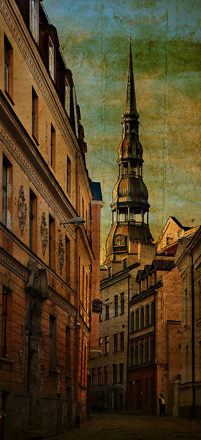 City Photograph - Old City Street - Stylized To Old Image by Gynt