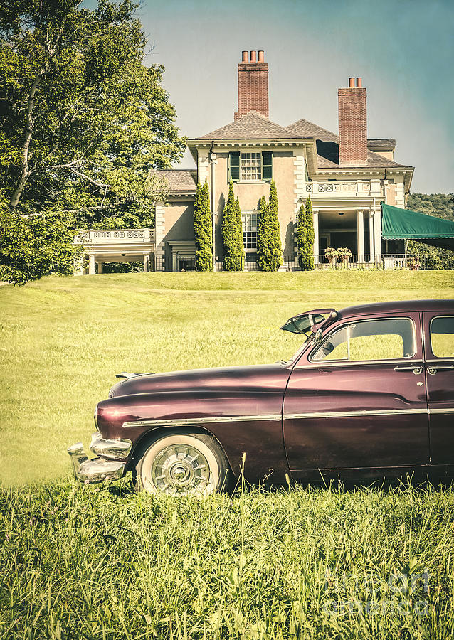 Book Photograph - 1951 Mercury Sedan In Front Of Large Mansion by Edward Fielding