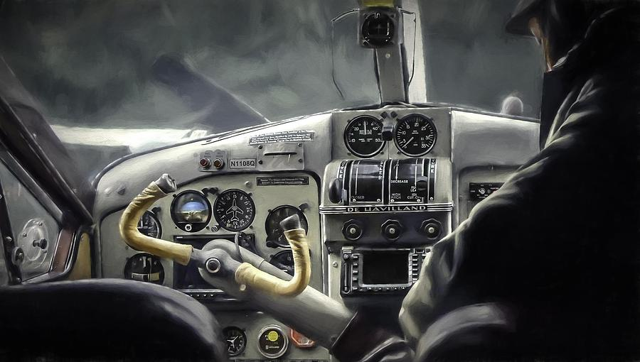 Pilot Painting - Old Cockpit by Barb Hauxwell