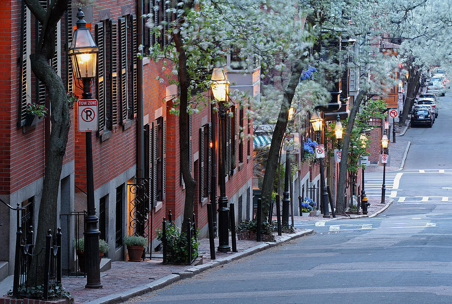 Boston Photograph - Old Colonial Brick Row Houses Of Beacon Hill by Juergen Roth