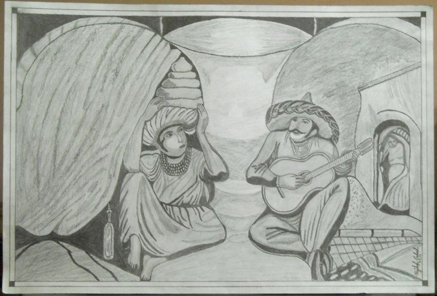old lady drawing old couples by rajdeep ghosh