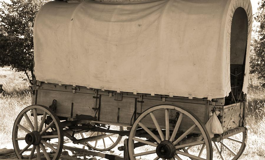 Covered Wagon Photograph - Old Covered Wagon Out West by Dan Sproul