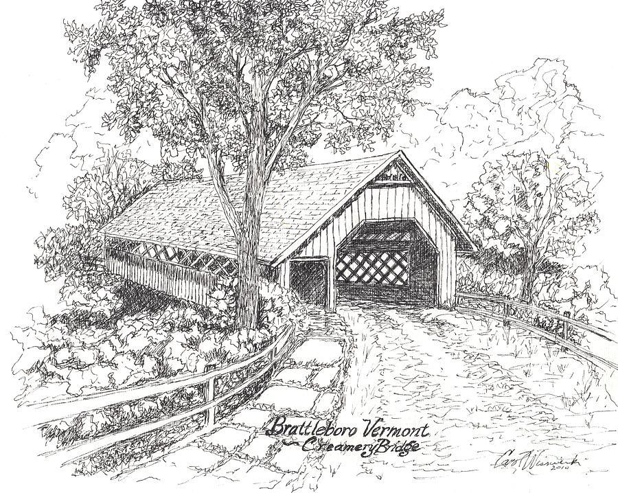 Covered Bridge Drawing - Old Creamery Bridge In Brattleboro Vermont by Carol Wisniewski