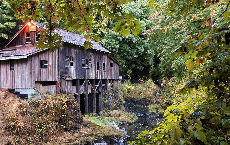 Cedar Creek Photograph - Old Creek Grist Mill In Autumn by Athena Mckinzie