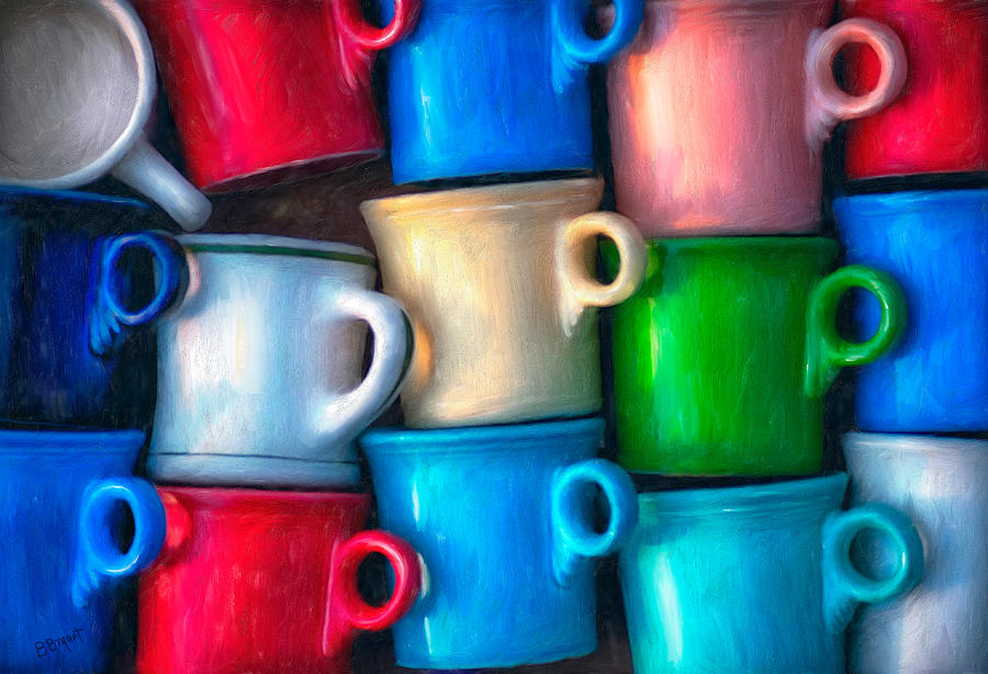 Cup Painting - Old Cups For Sale by Brenda Bryant