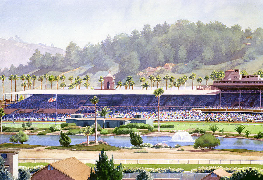 Race Track Wall Art >> Old Del Mar Race Track Painting by Mary Helmreich