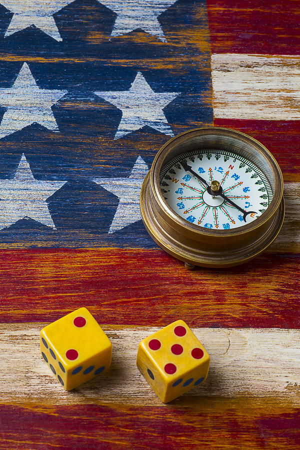 Wooden Photograph - Old Dice And Compass by Garry Gay