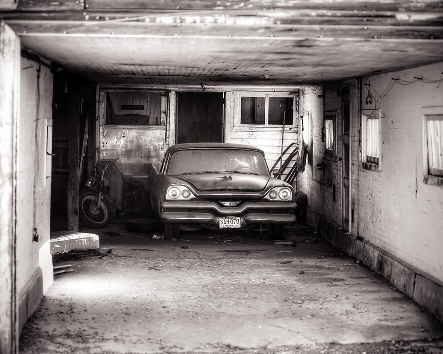 Old dodge car in garage photograph by steve g bisig for Garage aulnay automobile
