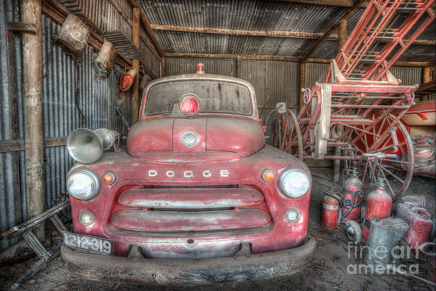 Fire Photograph - Old Dodge Fire Truck by Shannon Rogers