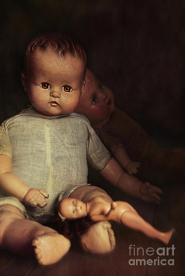 Atmosphere Photograph - Old Dolls Sitting On Wooden Table by Sandra Cunningham