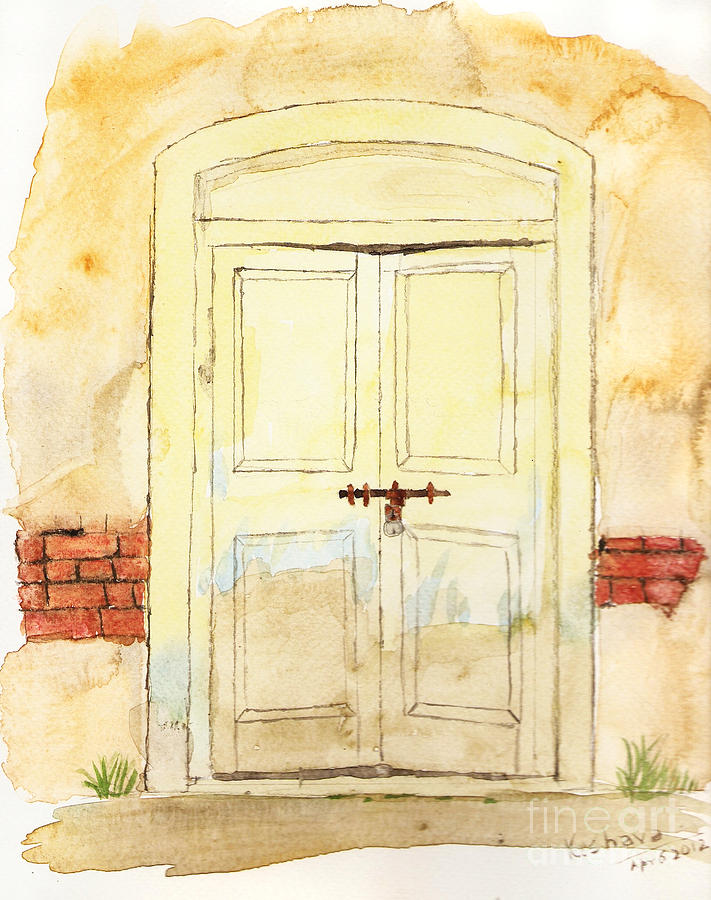 Door Painting - Old Door by Keshava Shukla