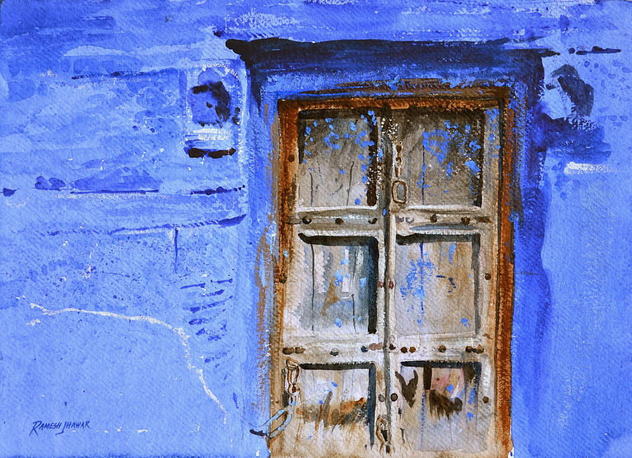 Watercolor Painting - Old Door by Ramesh Jhawar & Old Door Painting by Ramesh Jhawar