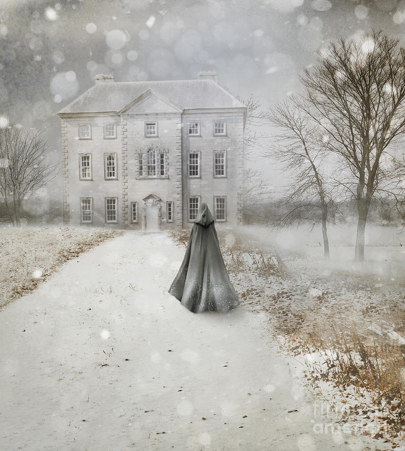 Atmosphere Photograph - Old English manor house frozen in winter time by Sandra Cunningham