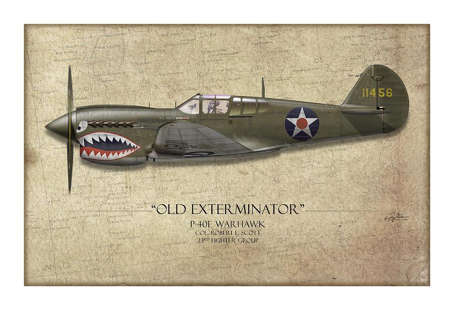Aviation Painting - Old Exterminator P-40 Warhawk - Map Background by Craig Tinder