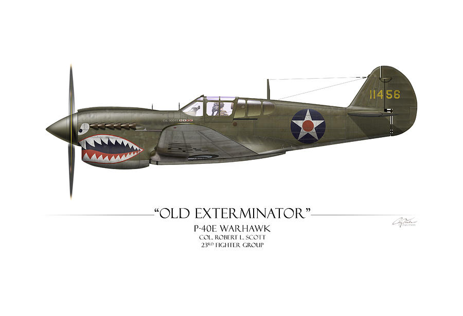 Aviation Painting - Old Exterminator P-40 Warhawk - White Background by Craig Tinder