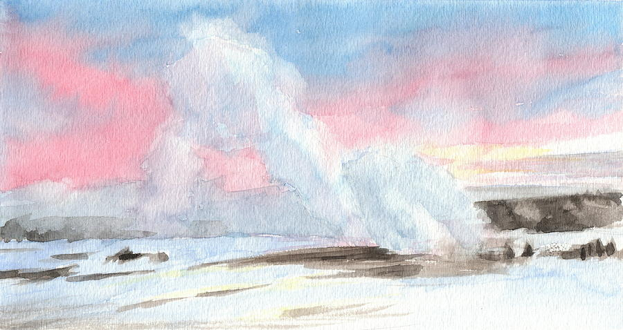 Old Faithful Sunrise Watercolor Painting Painting by Mike Theuer