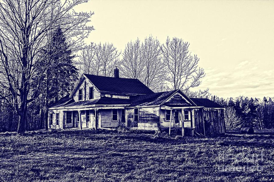 Blueprint Photograph - Old Farm House by Jim Lepard