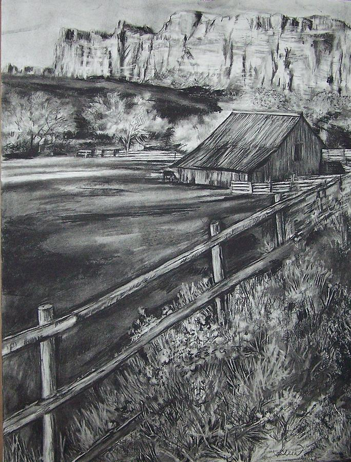 Landscape Drawing - Old Farm House by Laneea Tolley