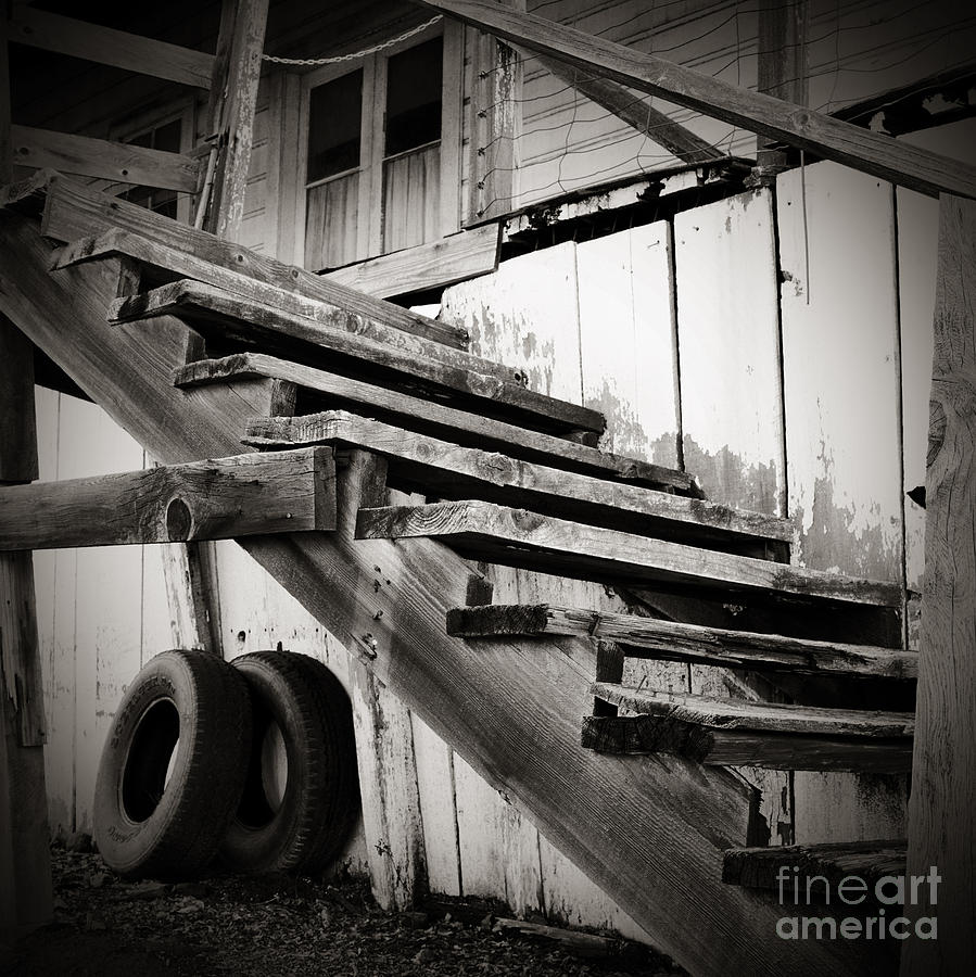Old Photograph - Old Farm Stairs by Charmian Vistaunet