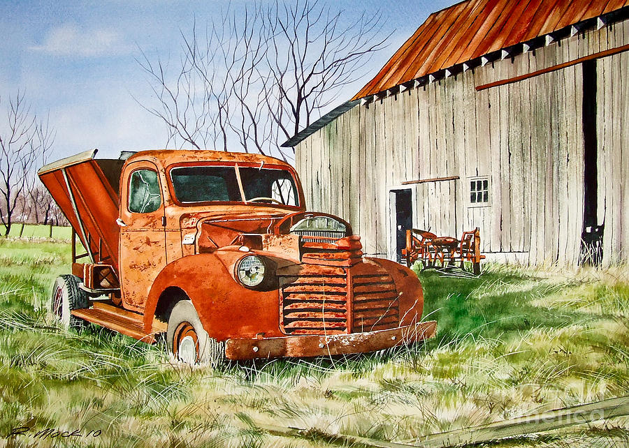 Farm Painting - Old Farm Truck by Rick Mock